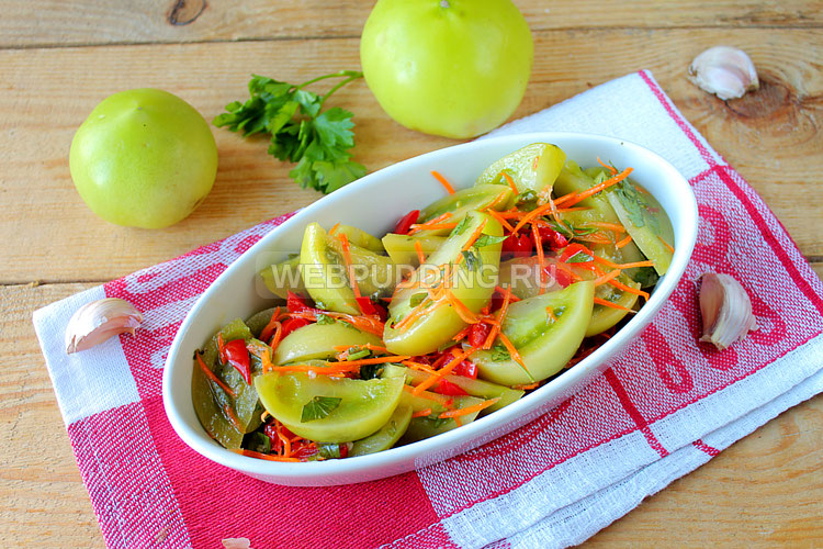 Зелёные помидоры по-корейски - самые вкусные рецепты на зиму