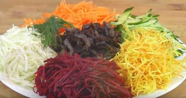 Праздничный салат «чафан»: ингредиенты и пошаговый классический рецепт с курицей. как вкусно приготовить салат «чафан» с мясом, говядиной, свининой, колбасой, ветчиной, маринованными овощами, корейской морковью, майонезом: лучшие рецепты