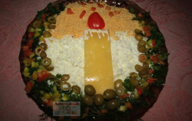 """Новогодний салат """"свеча"""" с ветчиной, грибами и сыром – пошаговый рецепт с фото"""
