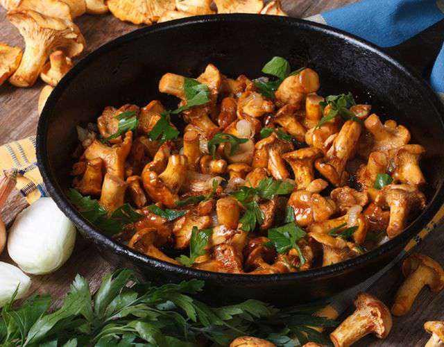 Как приготовить грибы лисички с мясом: фото, рецепты для духовки и мультиварки