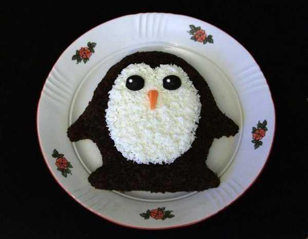 Новогодний салат пингвины на льдине