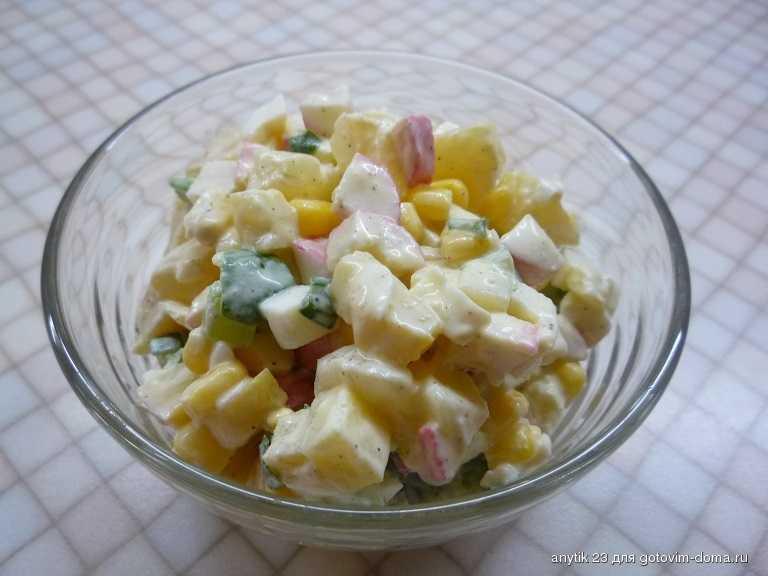 Крабовые палочки и ананасы – подборка простых и праздничных салатов