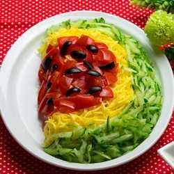 """Салат """"арбузная долька"""" с курицей - 12 пошаговых фото в рецепте"""