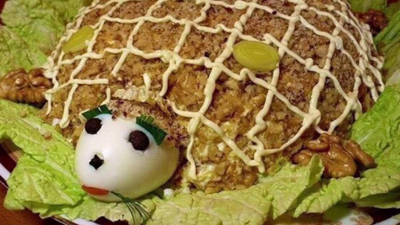 Как сделать куриный салатик черепашка с грецкими орешками