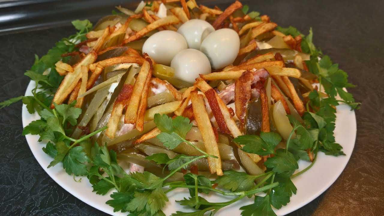 Салат перепелиное гнездо глухаря рецепт с фото - 1000.menu