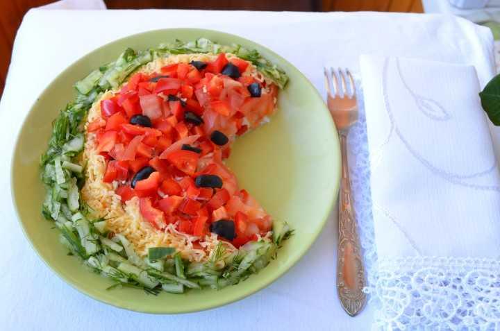 Салат «арбуз» с курицей: пошаговые рецепты с фотографиями процесса готовки