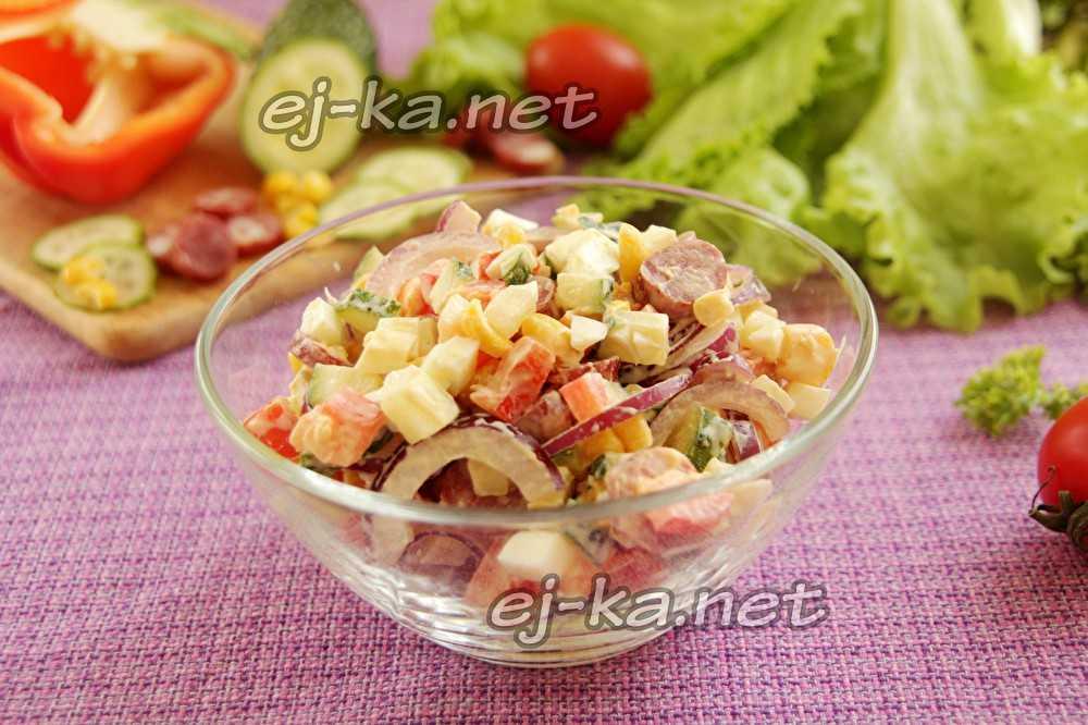 Изумительный баварский салат с охотничьими колбасками