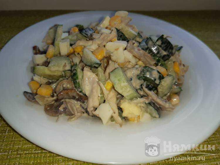 Салат сказка с курицей и шампиньонами: рецепт с фото пошагово
