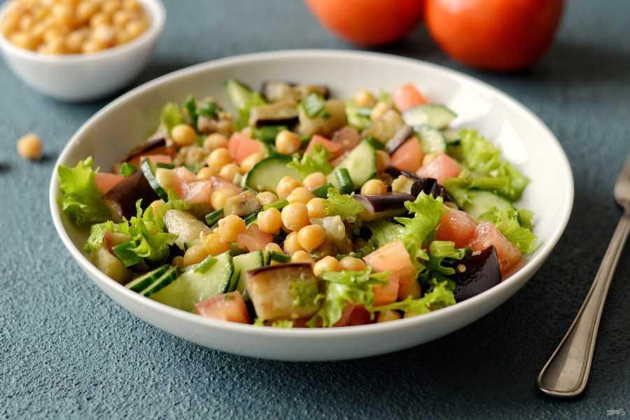Салат-гриль с нутом и баклажанами - кулинарный рецепт с пошаговыми инструкциями   foodini