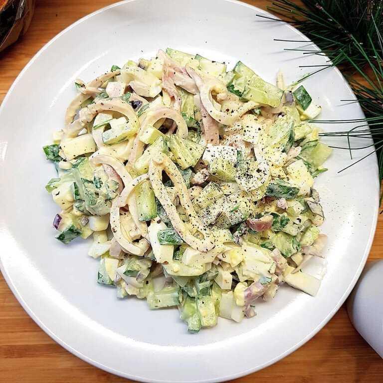 Как приготовить салат с кальмарами огурцом и сыром: поиск по ингредиентам, советы, отзывы, пошаговые фото, подсчет калорий, удобная печать, изменение порций, похожие рецепты