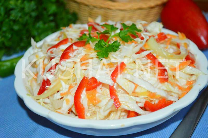 Маринованная капуста с болгарским перцем быстрого приготовления с уксусом, маслом и чесноком