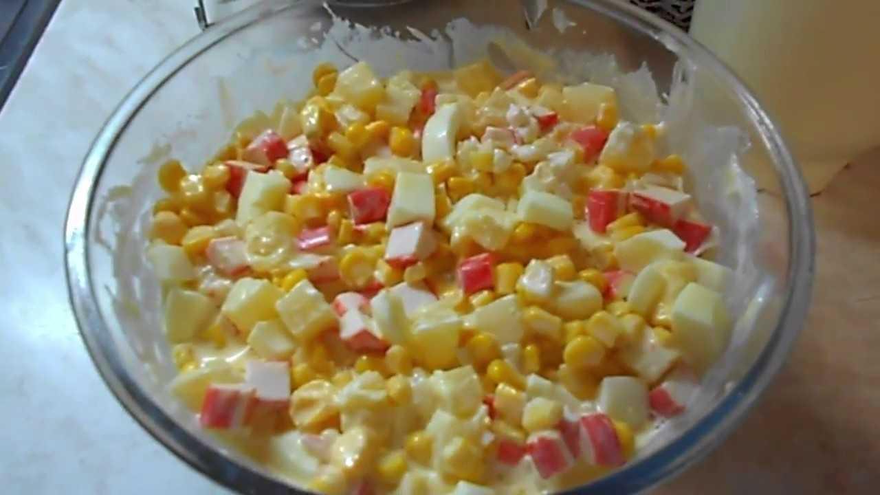 Салат свежесть из курицы с ананасами и крабовыми палочками рецепт с фото пошагово - 1000.menu