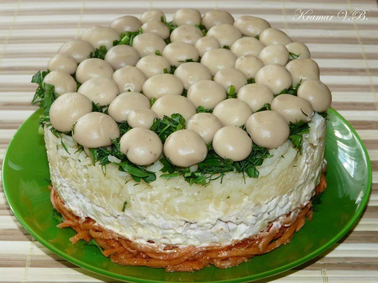 Салаты с грибами: топ-7 рецептов, пошаговое приготовление