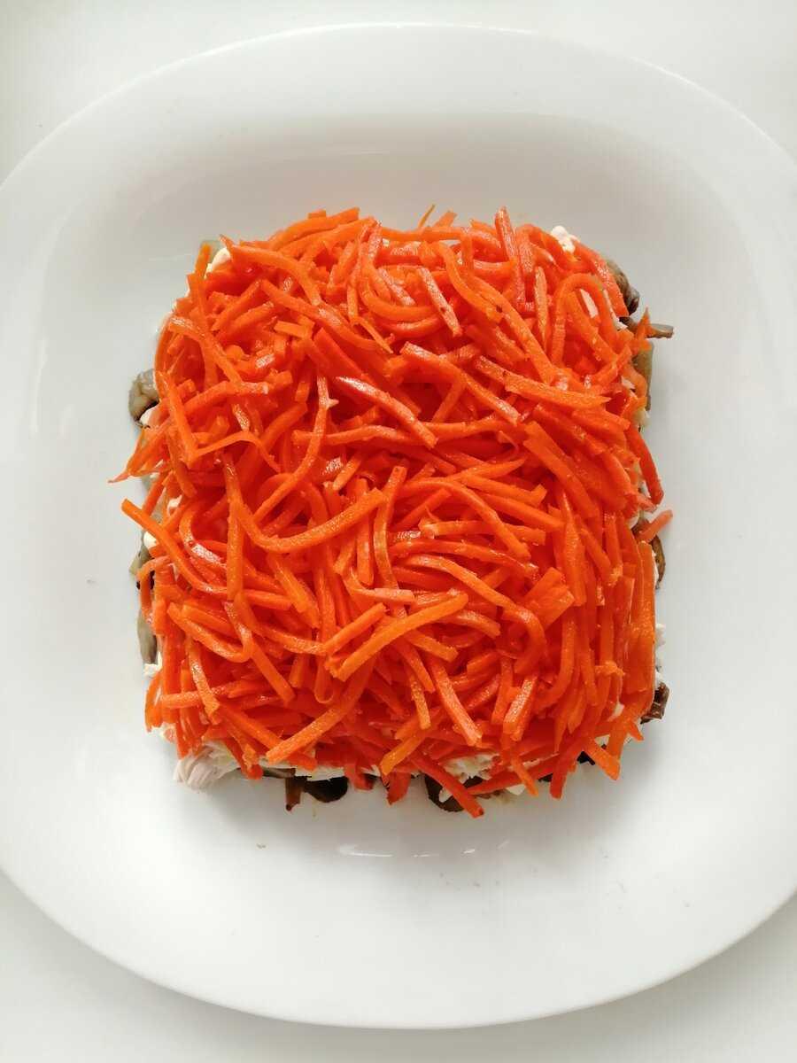 Салат с курицей грибами корейской морковью рецепт с фото пошагово и видео - 1000.menu