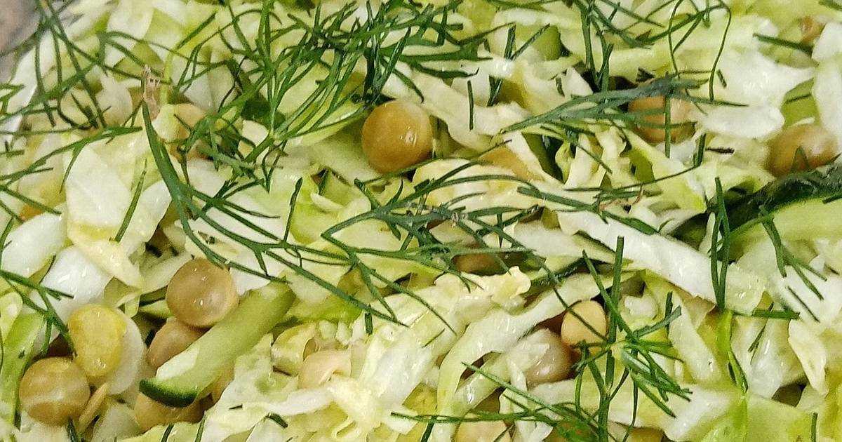 Салат из свежего огурца и горошка - 6 пошаговых фото в рецепте
