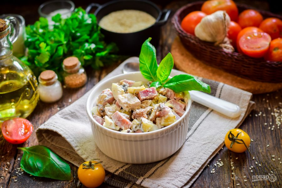 Салаты с курицей и грибами. очень вкусные и простые рецепты