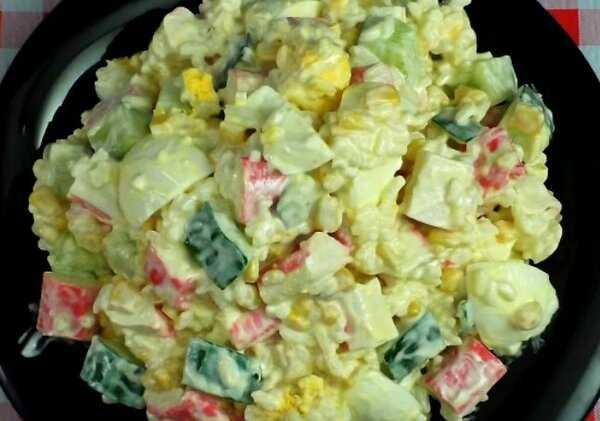 Салат крабовые палочки рис кукуруза в огурцах-лодочках рецепт с фото и видео - 1000.menu