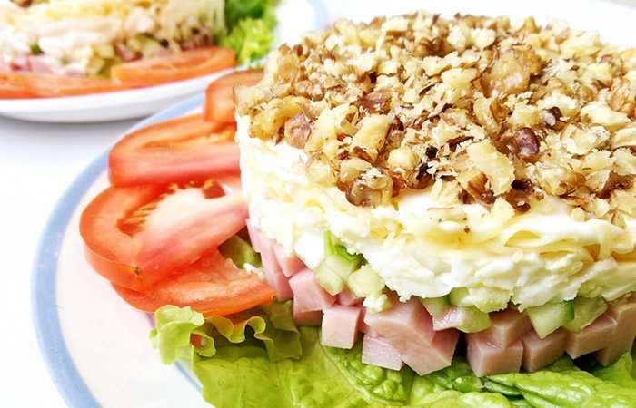 Рецепты салат с ветчиной и грибами
