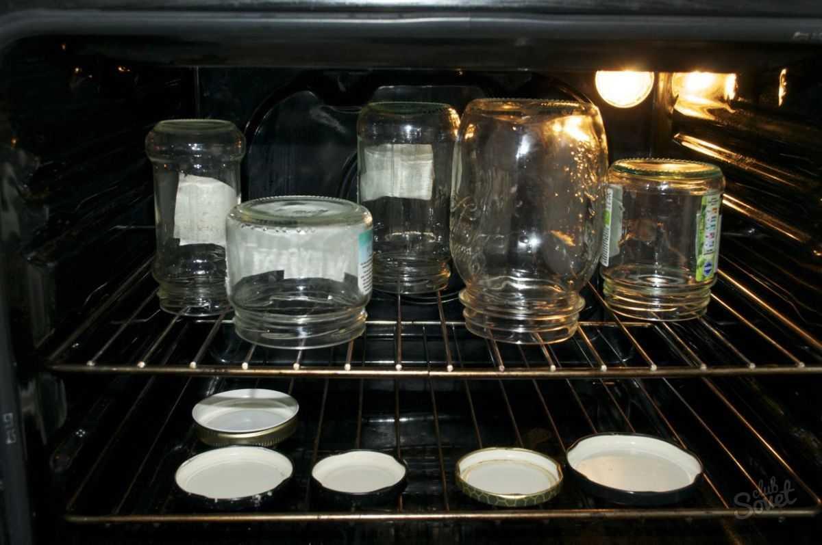 Стерилизация банок в духовке газовой плиты.