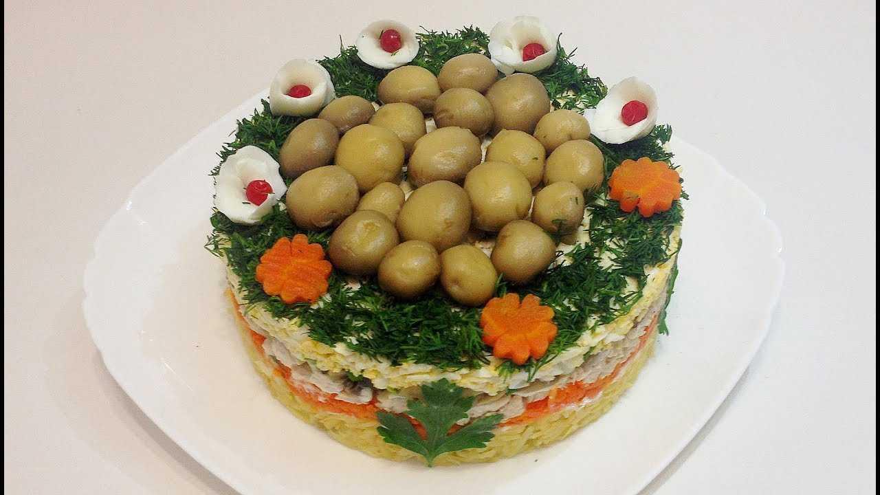 """Салат """"лесная поляна"""" с шампиньонами и курицей рецепт с фото пошагово"""