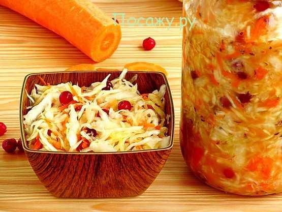 Квашеная капуста с клюквой — рецепт быстрого приготовления