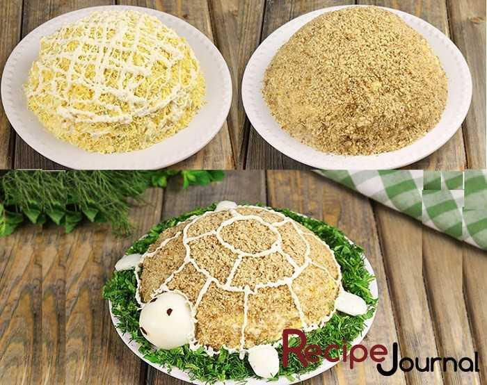 Салат черепаха – классический рецепт приготовления с курицей, яблоком и грецкими орехами