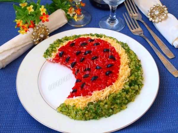 Салат «арбузная долька» — лучшие рецепты. как правильно и вкусно приготовить салат «арбузная долька».