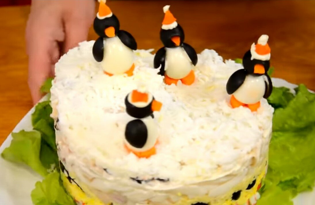 Салат с сардинами пингвины на льдине