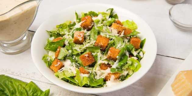 Салат цезарь с курицей и сухариками в домашних условиях: 5 пошаговых рецептов вкусного салата