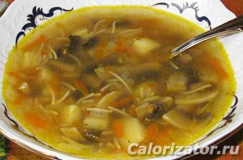 Как приготовить суп из шампиньонов с картофелем и вермишелью. Рецепты со свежими и замороженными грибами, овощами. С чем подавать на стол. Калорийность готовых блюд.