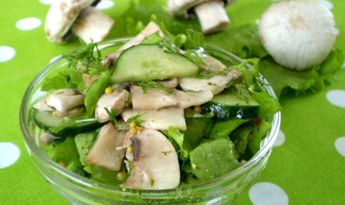 Салат из жареных шампиньонов с огурцом рецепт с фото пошагово - 1000.menu