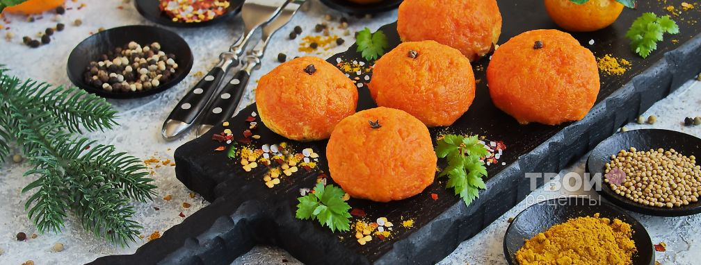 "Закуска ""мандаринки"" из сыра и моркови с чесноком"
