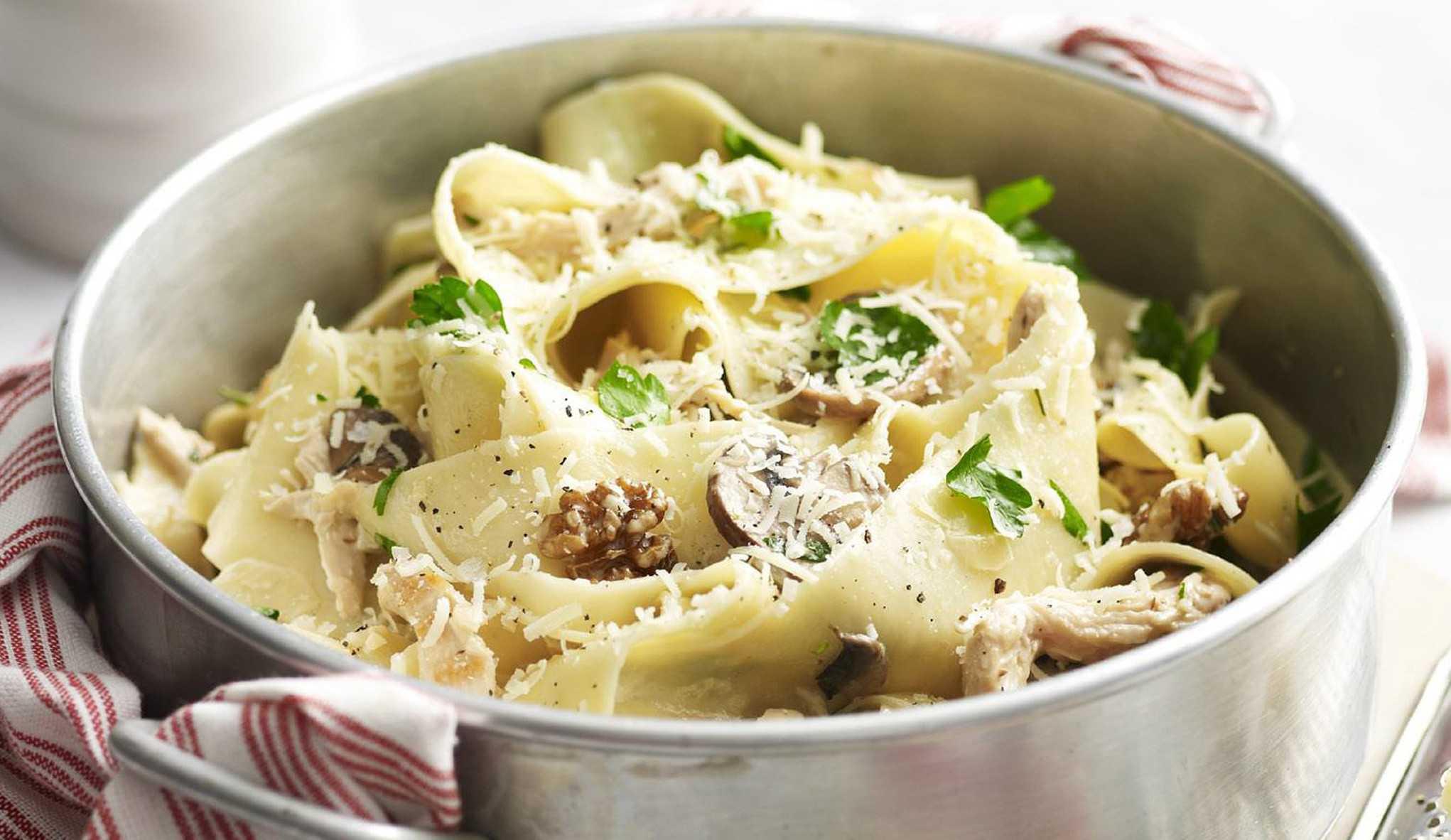 Фетучини с грибами и ветчиной: рецепты приготовления классического блюда