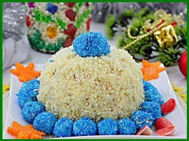 Салат снегурочка рецепт с фото пошагово - 1000.menu