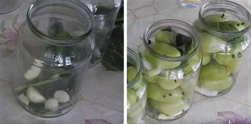 Маринованные зеленые помидоры с чесноком быстрого приготовления - 5 пошаговых фото в рецепте