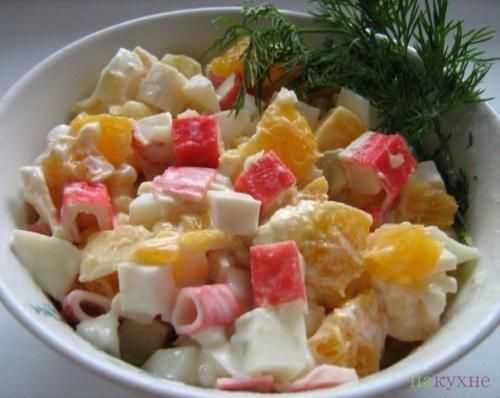Рецепты крабовый салат с грибами