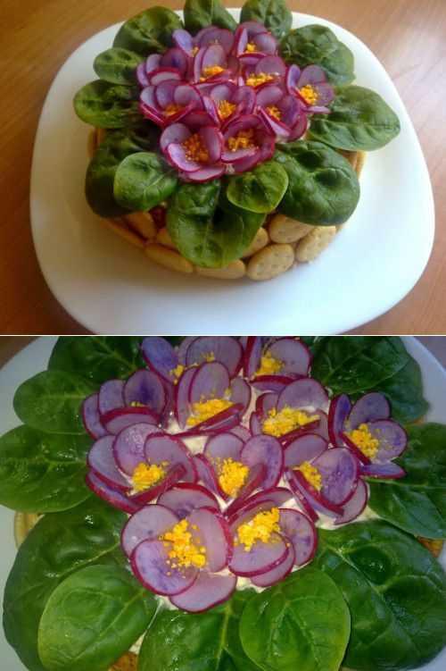Салат фиалка с грибами корейской морковкой рецепт с фото