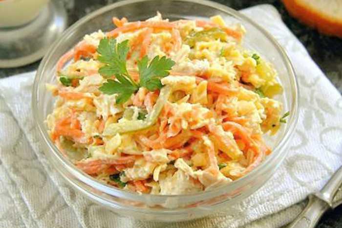 Салат лисичка с корейской морковкой – идеальный вариант: рецепт с фото и видео