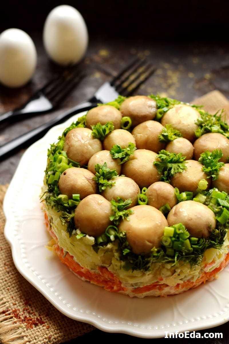 Салат грибная поляна с шампиньонами: рецепт приготовления