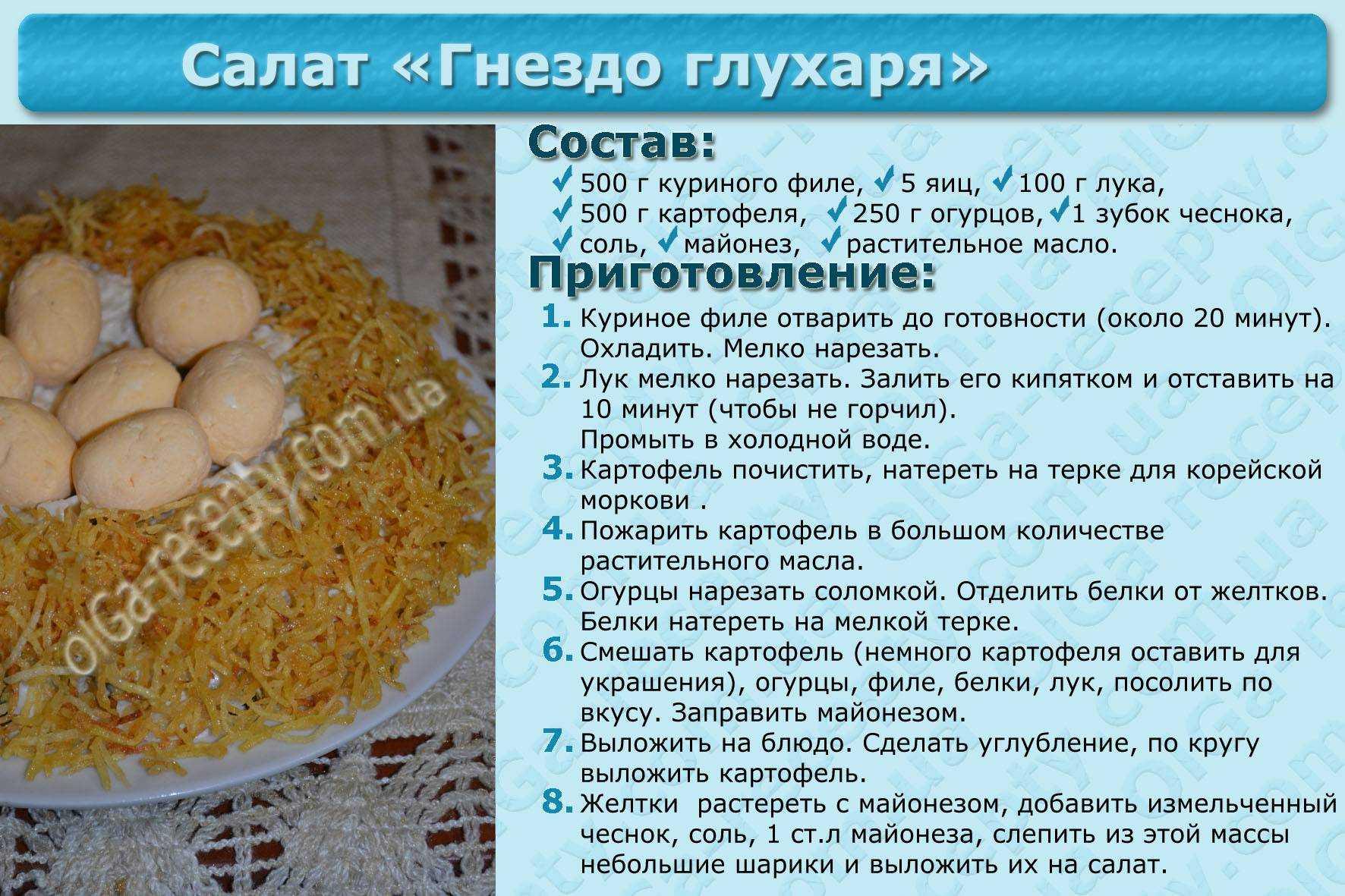Лучшие рецепты салата «гнездо глухаря»