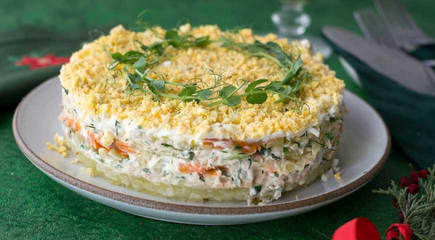 Салат с рыбными консервами и зеленым луком рецепт с фото пошагово - 1000.menu