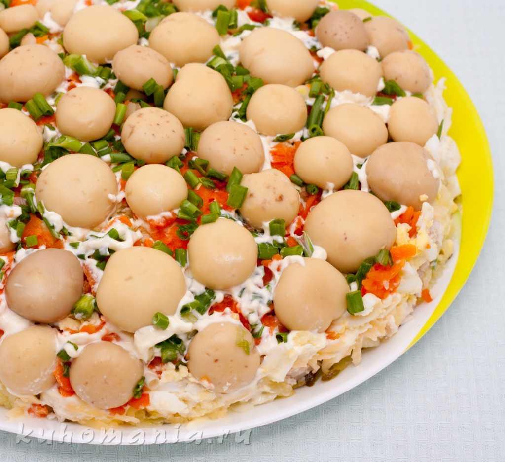 Салат «полянка» с курицей и грибами: рецепты