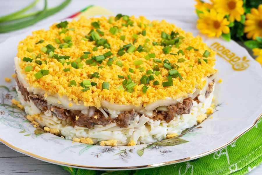 Салат из рыбных консервов - 120 рецептов приготовления пошагово - 1000.menu