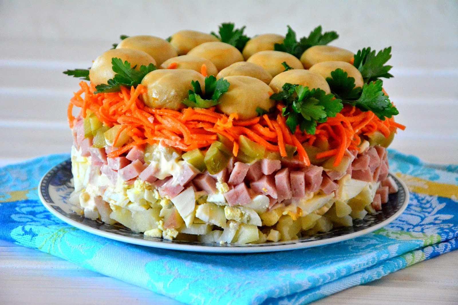 Салаты с ветчиной и грибами – несколько рецептов на любой вкус