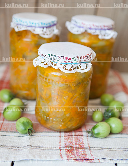 Салат из зеленых помидоров заготовки рецепт с фото - 1000.menu