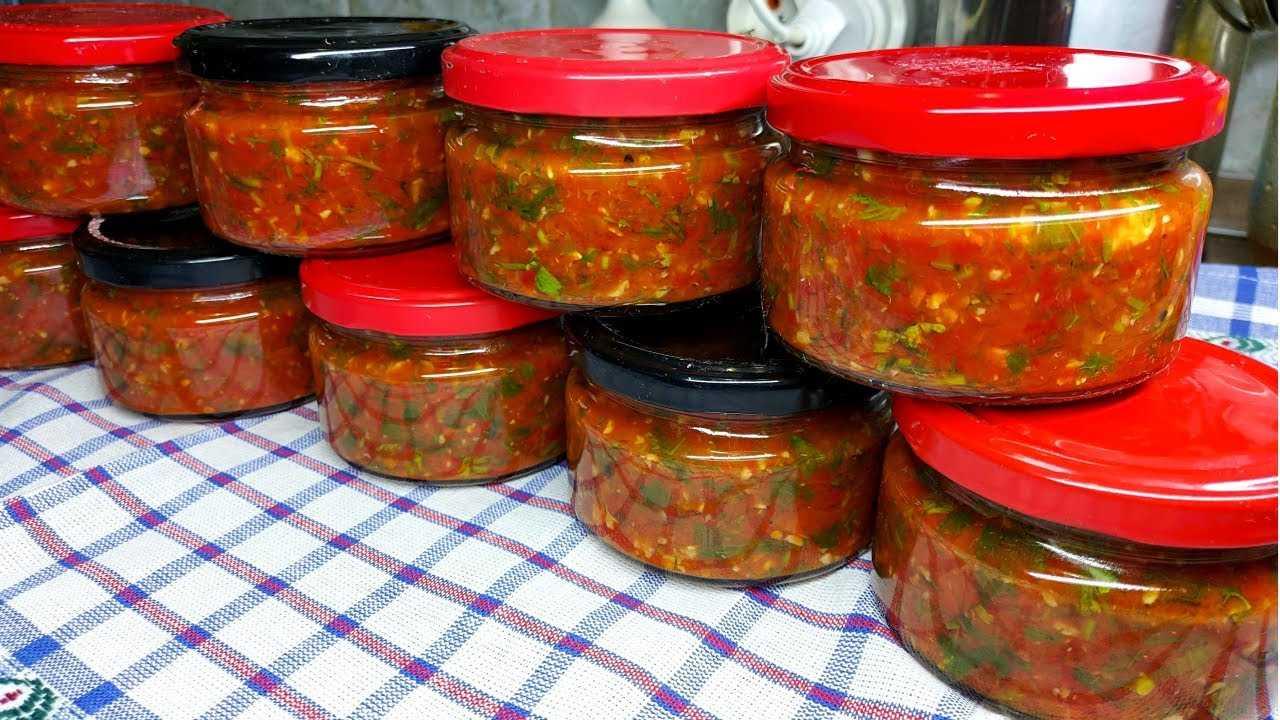 «огонек» из помидор, чеснока и острого перца на зиму