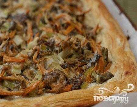 Открытый заливной пирог с лисичками - 10 пошаговых фото в рецепте