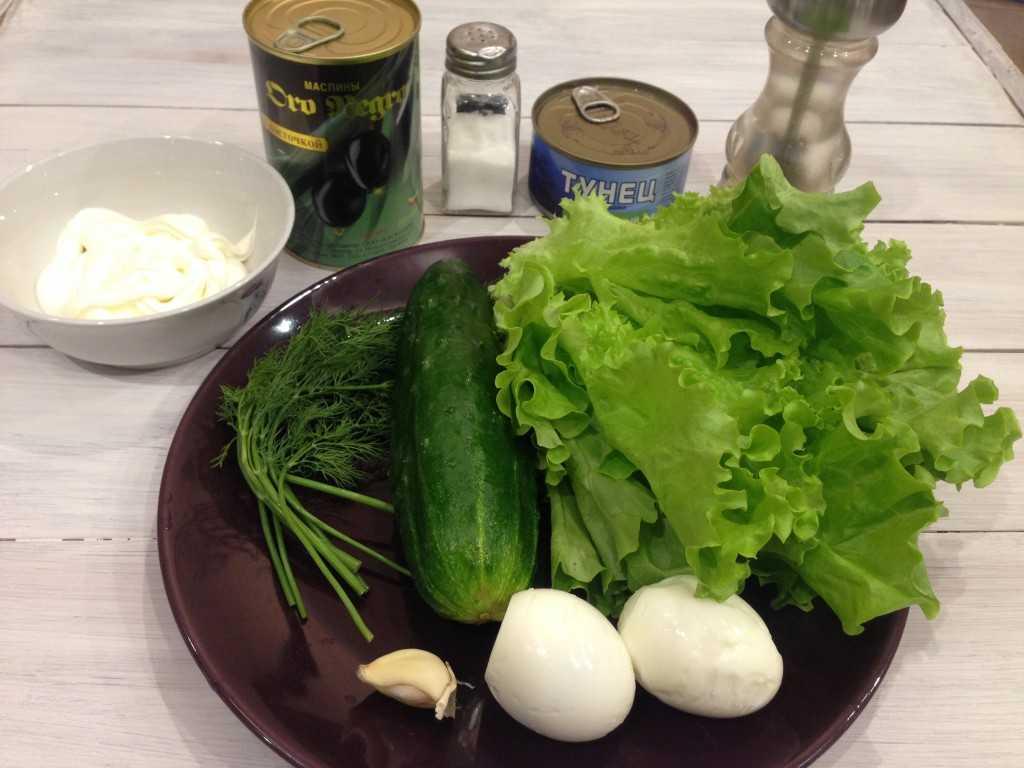 Летний салат со свежими огурцами и консервированным тунцом рецепт с фото пошагово и видео - 1000.menu