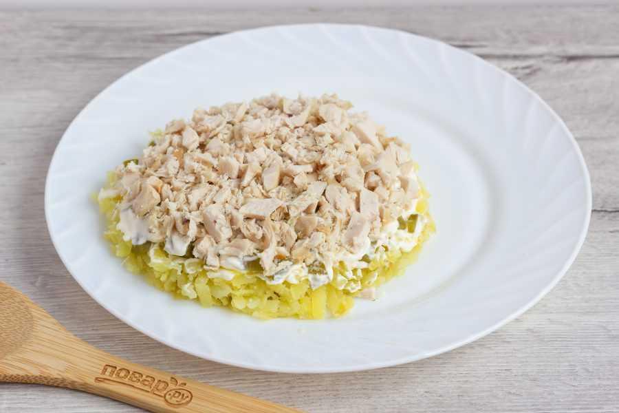 Салат курица с ананасами сыром и чесноком рецепт с фото пошагово - 1000.menu