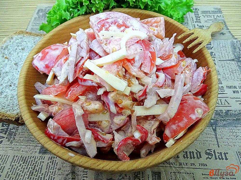 Салат гусарский с помидорами и говядиной рецепт с фото пошагово и видео – 1000.menu